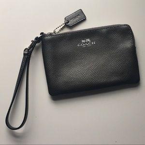Coach metallic silver/pewter corner zip wristlet